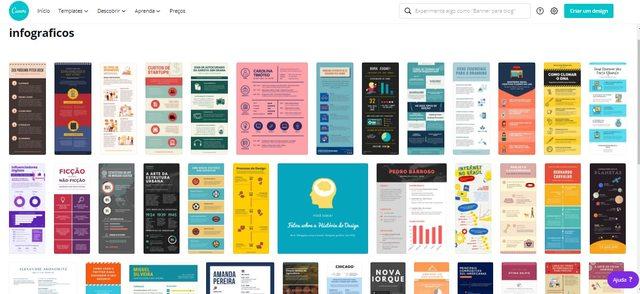 Imagem exemplificando a opção de se utilizar infográficos no Canva, uma das 4 ferramentas citadas como exemplo nesse artigo de POP