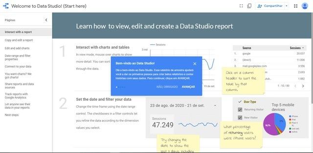 Imagem apresentando a função template tutorial do Google Data Studio, que auxiliará o usuário nos primeiros momentos na plataforma