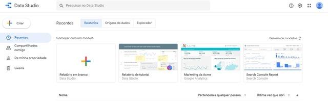 Visão inicial do usuário que abre o Google Data Studio pela primeira vez e segue o tutorial inicial da plataforma
