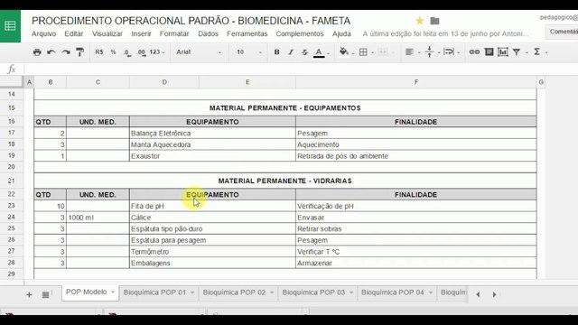 Imagem de exemplo das funções do Excel uma das 4 ferramentas para criar seu POP discutidas no texto