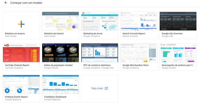 Imagem exemplo da visão do usuário que encontra a aba de templates modelo do Google Data Studio